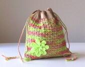 Summer Sorbet Hand-knit Cotton and Silk Drawstring Shoulder Bag