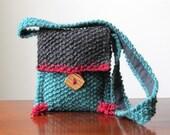 Woodland Whimsy Hand-knit Wool Shoulder Bag