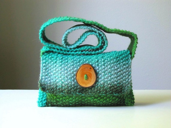 Gloriously Green Hand-knit Wool Shoulder Bag
