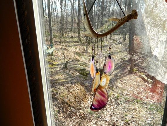 Geode Windchime on Whitetail Deer Antler