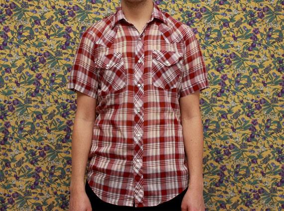 Vintage Mens Western Cowboy Check Shirt Small Medium