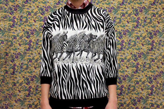 Vintage Zebra Print Sweater Medium Unisex 80s Retro Black White