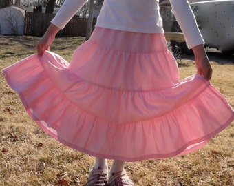 Girls Modest Tiered Peasant Prairie Skirt - Choose Your Color and Fabric Size 3-16