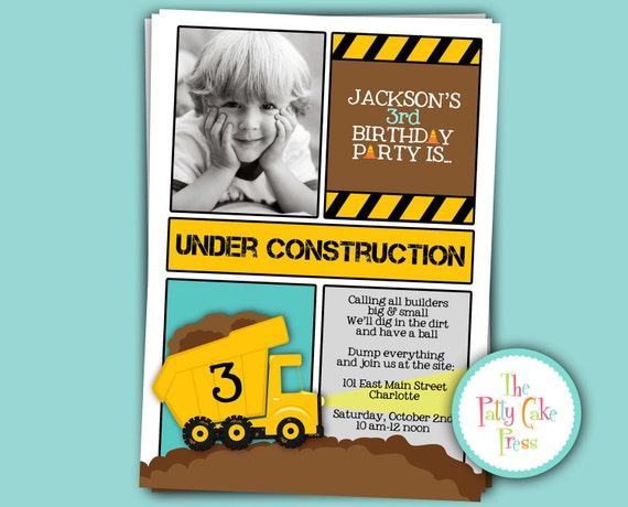 Dump Truck Photo Invitation Construction Birthday Party Custom Printable Digital File Second Third 2nd 3rd