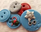 Winter Jollies ( handmade buttons collection of 5 )