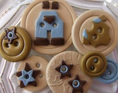 Baby Boy Blue ( handmade buttons collection of 7)