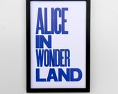 Blue Alice in Wonderland Typography Poster, 11 x 17 Letterpress Print