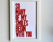 Red and White Valentine's Day Gift, Children's Wall Art Decor, Baby Nursery Art Poster, So Many of My Smiles Begin with You Letterpress