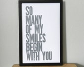 Poster, Gray Baby Nursery, So Many of My Smiles Begin with You Letterpress Print, 11 x 17 Typography