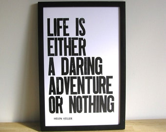 Life is an Adventure Letterpress Print