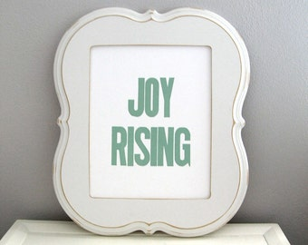 Sage Green Letterpress Print, Inspirational Art, Joy Rising