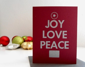 Sale Christmas Cards, Four Letterpress Holiday Cards, Burgundy and Silver Joy, Love, Peace, Set of 4