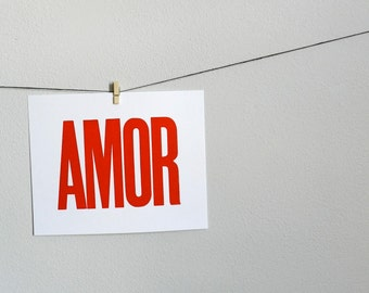 Spanish Art, Amor Letterpress Print, Bright Red Poster, Simple Typography Wall Decor