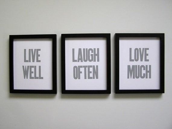 Live Well, Laugh Often, Love Much Letterpress Prints (Set of 3), Smoky Grey