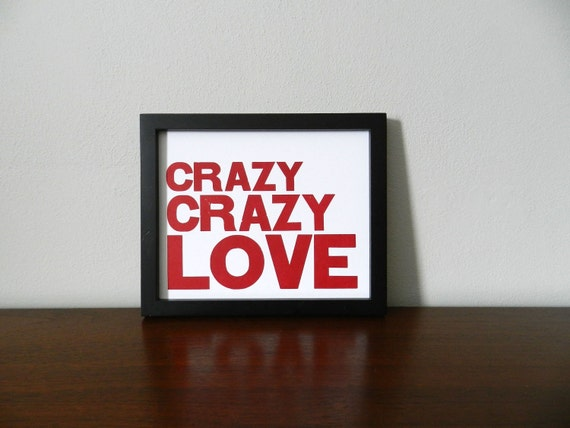Poster, Love Theme Art, Magenta and White Print, Crazy Crazy Love Simple Letterpress, 8x10