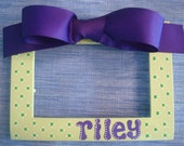 Girl's Handpainted Polka Dotted 4x6 Personalized Picture Frame