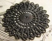 Sunburst circle filigree - 45mm - antiqued black brass, large round medallion flat filigree, center hole, dark shed patina