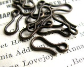 13mm hook clasp - dark antiqued brass (10 hooks) aged black patina, lead nickel free, made in the USA, necklace hook