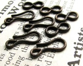 Medium hook and eye set - 14mm hook and 11mm figure eight eye - dark antiqued brass - (4 sets) aged black patina