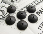 Domed, hammered 9mm bead cap, black antiqued brass (6 bead caps) black bead cap, smooth bead cap, made in the USA, lead nickel free BC-G-003