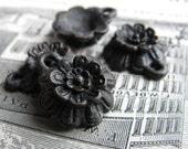 Little black flower charm from Bad Girl Castings - 15mm - solid antiqued dark pewter (4 charms) rustic aged oxidized patina CH-SC-030