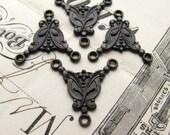 Rosary necklace link, antiqued black brass (4 links) 18mm Art Nouveau style 3 point triple connector, pendant drop LF-FF-004