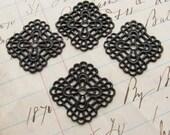 Square filigree link, ornament, wrap, base - 18mm - black, dark antiqued brass (4 filigree) center hole OR-SV-004