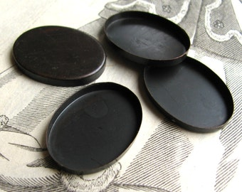 25 x 18 Plain edge bezel cup settings  - dark antiqued brass blanks (4 oval trays)  25x18mm 18x25mm 25mm 18mm