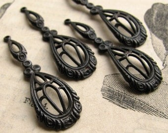 Victorian raindrops - dark antiqued brass - 35mm  (4 drops) tear drop, teardrop filigree charm, black aged patina