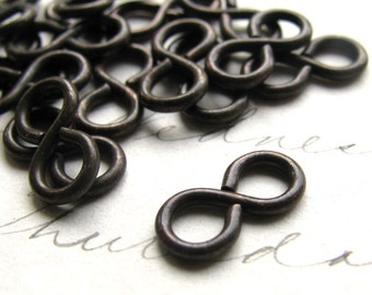 11mm figure eight eye link, dark antiqued brass (20 infinity links) oxidized patina, black ox figure 8, infinity loop connector, aged patina