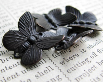 Black butterfly links, 14mm x 18mm, black patina (4 double connectors) winged insect, upturned wings, antiqued brass, black butterflies