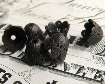 8mm scalloped cone bead cap, dark antiqued brass (6 small bead caps) oxidized black patina, lead and nickel free, made in USA BC-G-002