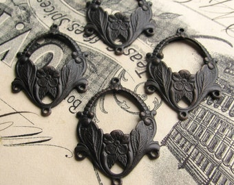 Floral chandelier earring link, dark antiqued brass (4 drops) 3 to 1 reducing connectors, aged black patina, three way reducer
