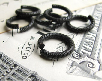 Sturdy 16mm etched jump ring, black antiqued brass (6 rings) 12ga 12 gauge thick, heavy duty, textured, grooved, dark aged oxidized patina