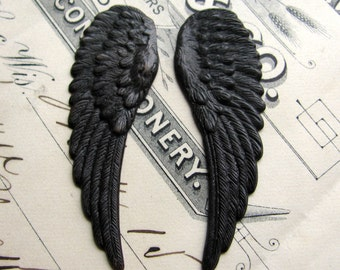 "Fallen Angel Brass Wings ""Cherubim"" 46mm, 2 black angel wings, dark, aged, antiqued, guardian angel made in the USA, lead nickel free"