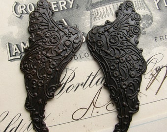 "Fallen Angel Brass Wings ""Archangel"" scrapbooking  (2 dark angel wings) black, dark antiqued, ornate, black angel wings, mythical fantasy"