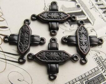 Crossed bars, 4 way link, 18mm dark antiqued brass connectors (4 links) aged black patina, blackened, lead nickel free, crisscross pattern
