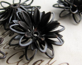 Sculpted black daisy, large three dimensional black flower bead cap, multi layered, dark antiqued brass (2 bead caps) aged patina BC-SG-013
