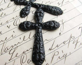 Large ornate cross pendant (2 crosses) black cross, flower design, 53mm, antiqued black brass, light weight stamping  CH-FF-016