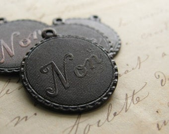 Non charm, small French pendant, antiqued black brass, 20mm round medallions (4 charms) Paris, Parisian, made in the USA