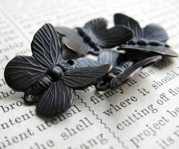 Butterfly links from the Wicken Fen collection, antiqued black brass (4 insects) aged dark patina, garden woodland creatures, wings, bugs