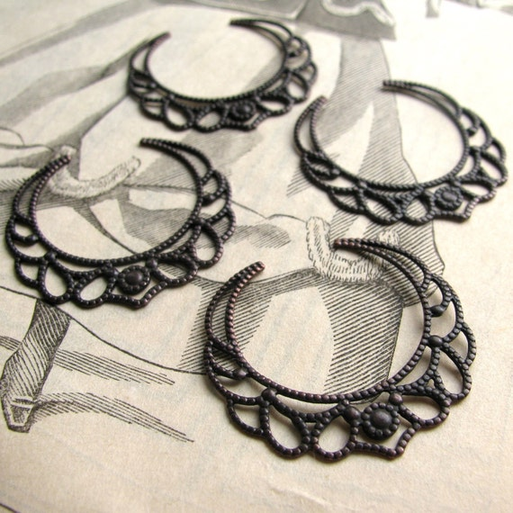 Pliable filigree hoops, dark antiqued brass, open, textured, flat (4 filigree links) pierced aged black patina, chandelier drop