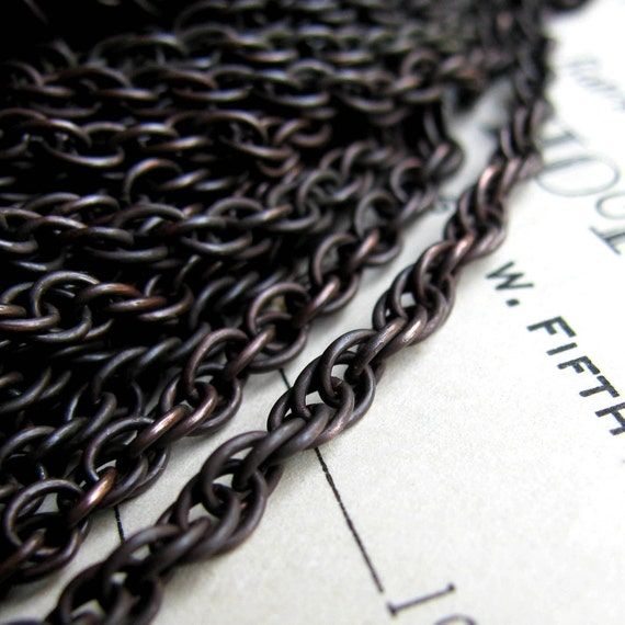"""Elegant brass chain - """"Rossetti """" - 3mm soldered links, braided rope necklace chain, black antiqued brass (1 foot or 30cm)"""