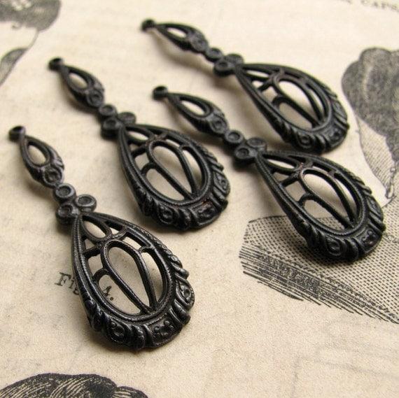 Victorian raindrops - dark antiqued brass - 35mm  (4 drops) tear drop, teardrop filigree charm, black aged patina