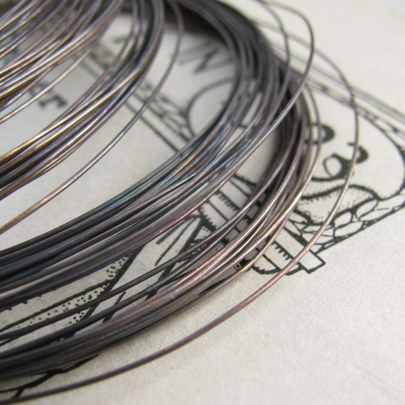 26g hand antiqued wire, dead soft (10 feet) (3 meters) aged black patina, oxidized copper, bulk coil coiled, bulk length, very thin