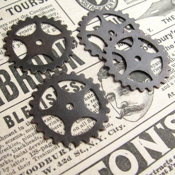 Large gears - dark antiqued brass - 26mm (4 gears)