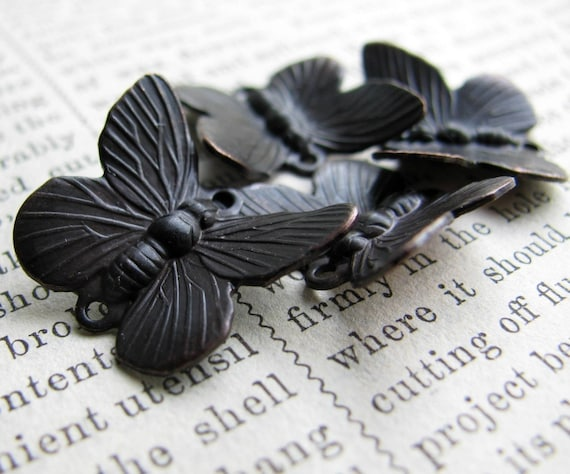 Butterfly links , 14mm x 18mm, dark antiqued brass (4 bugs) aged black oxidized patina, oxidized brass, lead nickel free, made in the USA