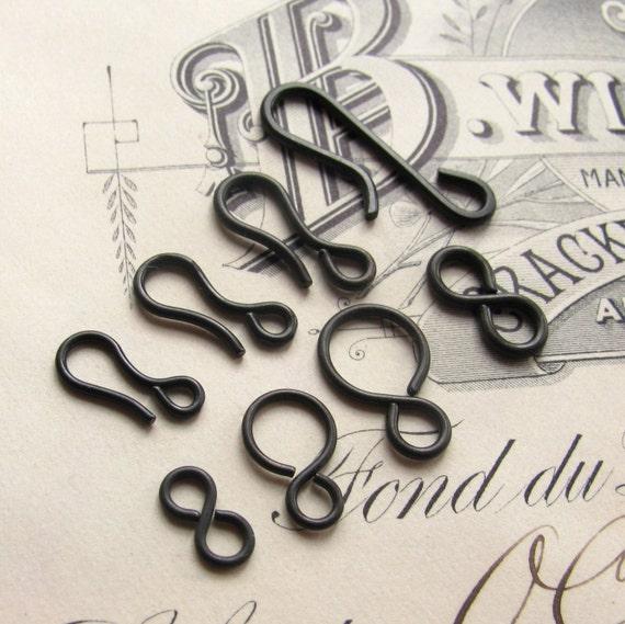 Sampler - hook and eye sets -  dark antiqued brass (4 sets) aged black patina, clasps