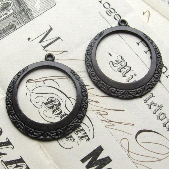 Mediterranean wave design antiqued black brass hoops, 30mm (2 hoops) aged, dark patina, round circle