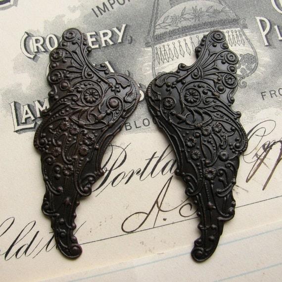 """Fallen Angel Brass Wings """"Archangel"""" scrapbooking  (2 dark angel wings) black, dark antiqued, ornate, black angel wings, mythical fantasy"""